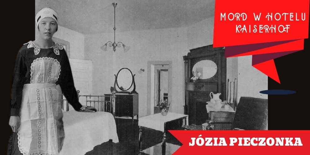 Służąca Józia Pieczonka natle hotelowego pokoju Rozalii Drżałło-Wzdrygałło.