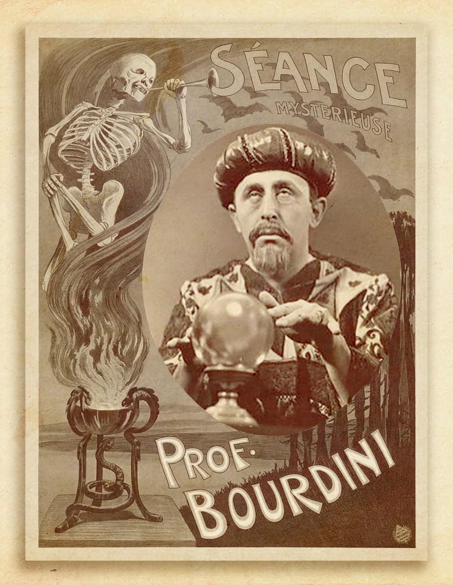 Stary plakat reklamowy prezentujący sylwetkę Czesława Pukałko jako profesora Bourdini.